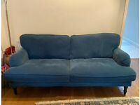 IKEA STOCKSUND 3-seater sofa, Tallmyra blue/black/wood, PICK-UP ONLY