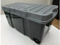 Large 90lt Tough Cart - Plastic Storage Box with Two Wheels