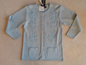 NEW Ladies Warm Pale Blue Knitted Jacket Size Large