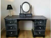 Soild pine black gloss sparkle glitter dressing table and mirror