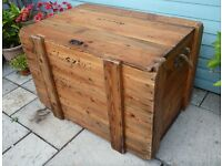 Very Large Campaign Trunk Chest Packing Crate Flat Top Hinged Lid Vintage