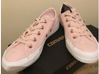 Converse Arctic Pink Leather Trainers,brand new!!! size 4,5,6
