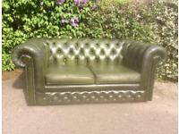 Vintage Green Leather Chesterfield 2 Seater Sofa