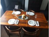 Solid Wood Dining Table and 4 chairs set / EX DISPLAY