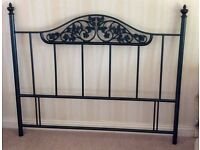 "Dark green metal headboard (4ft 6"") with lovely metal work detail. Excellent condition"