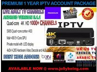 PREMIUM 1 YEAR IPTV ACCOUNT PACKAGE UK & INTERNATIONAL LIVE TV CHANNELS + ANDROID TV BOX