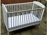 wooden cot, including mattress. white. Good quality. In very good condition.