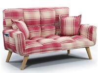 Small red tartan sofa bed