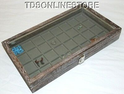 Rustic Coffee Color Glass Top Display 32 Slot For Jewelry Etc Grey