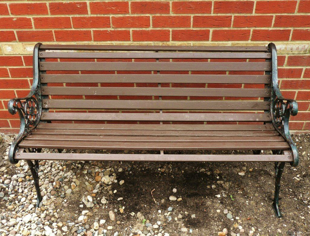 Double Seater Garden Bench / Chair / Seat Wooden Slat Frame U0026 Ornate Cast  Iron Ends