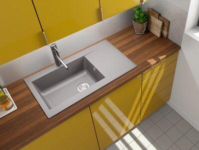 Spüle Küchenspüle Einbauspüle Mineralite Spülbecken 86 x 50 betongrau respekta