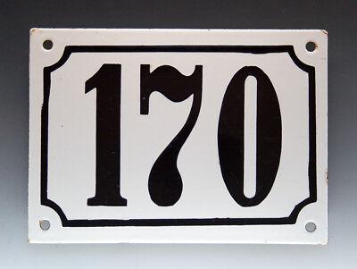 EMAILLE, EMAIL-HAUSNUMMER 170 in SCHWARZ/WEISS um 1960