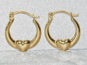9CT GOLD CHILDREN'S FANCY HEART CREOLE HOOP EARRINGS