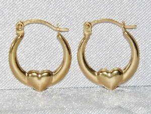 9ct Gold Children S Fancy Heart Creole Hoop Earrings