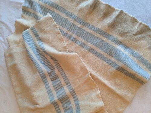 "Vintage AYERS Cream Blue Striped Throw Blanket 67"" x 40"" 100% Wool Canada Heavy"