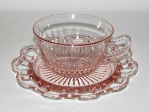 Hocking Glass Co. OLD COLONY Lace Edge Pink Cup and Saucer Set
