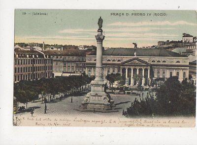Lisboa Praca d Pedro IV Rocio Portugal 1905 Postcard 912a