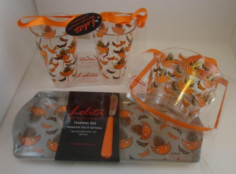 Lolita Masquerade Too Hostess Party Set Tumblers Bowls Tray Spreader Halloween