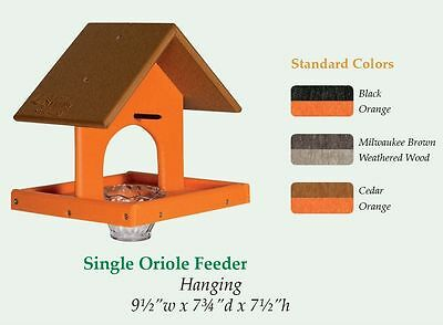 ORIOLE BIRD FEEDER with Tray, Jelly Jar & Orange Spike - Custom Poly Colors USA