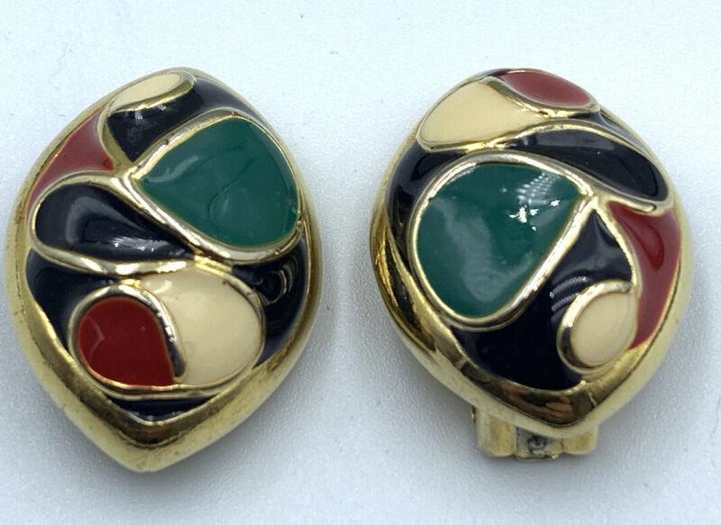 "Vtg Gold Tone Enamel Multi Color Red Black White Abstract Clip-on Earrings 1"""