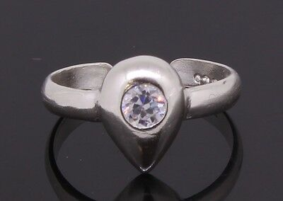 Toe Ring Sterling Silver Heat Shaped Adjustable With CZ Stone Handmade