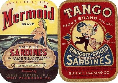 "RARE OLD 1940'S ""MERMAID & TANGO"" SARDINE LABELS SUNSET PACKING PEMBROKE MAINE"