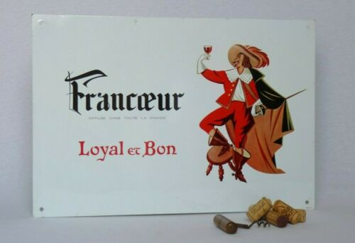 Vintage French Toleware Advertising Sign for Francoeur Wine ~ Image of Musketeer