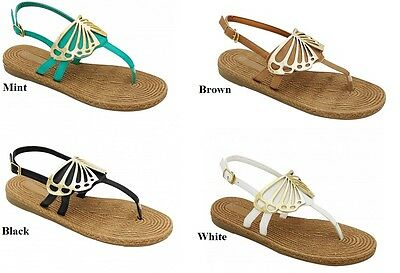 WOMENS BUTTERFLY ROMAN GLADIATOR OPEN TOES THONG SANDALS  6 7 8 9 10 11 ()