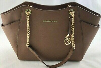 New Authentic Michael Kors Jet Set Travel Large Chain Shoulder Tote Bag Luggage