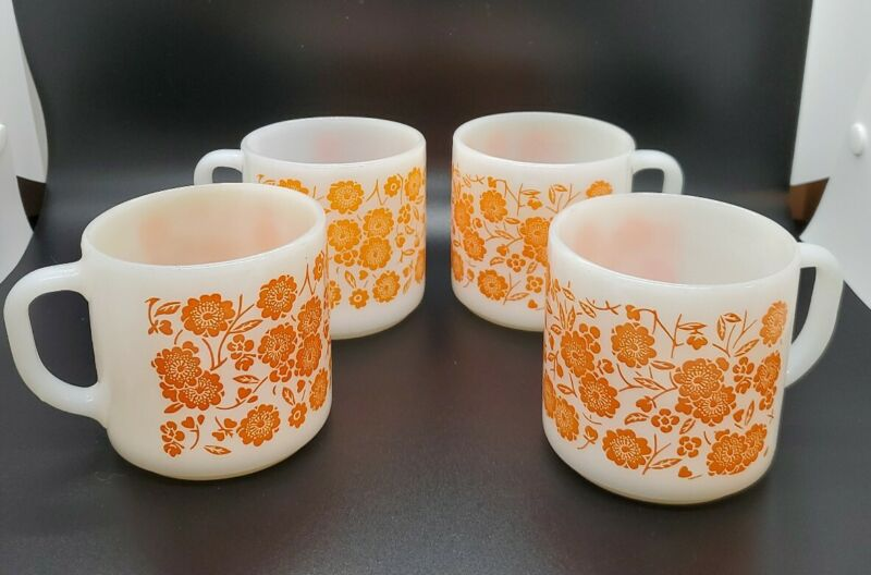 Vtg Federal Milk Glass Orange Flower Stackable Cup Mug Heat Proof Set of 4