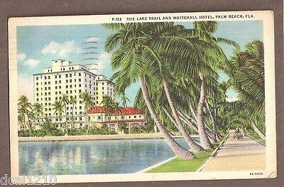 VINTAGE POSTCARD 1936 WHITEHALL HOTEL PALM BEACH FLORIDA