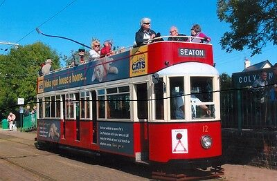TRAM CAR PHOTO PICTURE,SEATON TRAMWAY OPEN TOP DOUBLE DECK,PHOTOGRAPH AT COLYTON