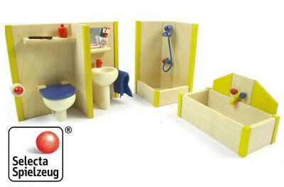 Selecta Spielzeug Wooden Doll House Furniture Bathroom Set 4316