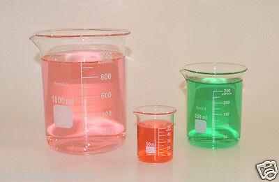 Beaker Set 1000 250 50 Ml Griffin Graduated Borosilicate Glass Beakers