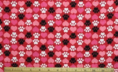 SNUGGLE FLANNEL **BLACK & WHITE DOG PAWS & HEARTS on RED** 100% Cotton *NEW* - Black And White Hearts