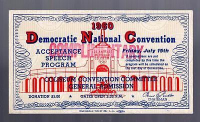 1960 Democratic National Convention DNC Ticket LA Coliseum KENNEDY speech Rare!!