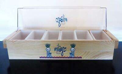 Milagro Tequila 6 Compartment Wood Condiment Fruit Caddy Bar Tray New