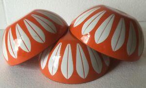 3 Cathrineholm Orange Lotus Bowls/Unused/mid Century Enamel/5 1/2