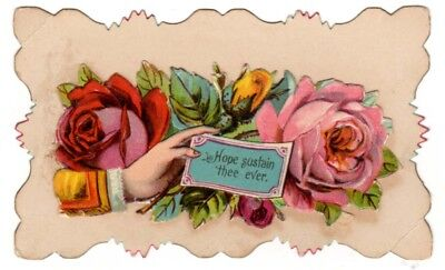Vintage Beautiful Victorian Hidden name card Hope Sustain Thee Ever Note Roses