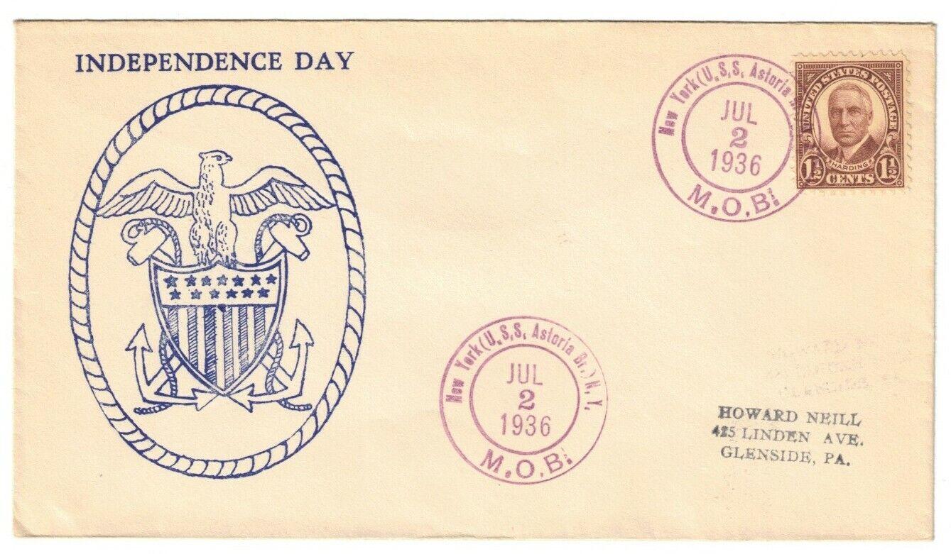 USS ASTORIA CA-34, JUL 2, 1936, T-9x 1936 CANCEL - $3.00