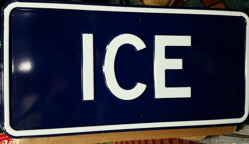 HEAVY EMBOSSED STEEL ICE SIGN 12 BY 24 INCHES (BR549)