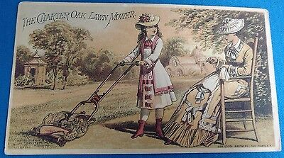 Vintage Antique Charter Oak Lawnmower garden sew trade card postcard advertising