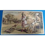 Vintage Antique Charter Oak Lawnmower garden sew trade card postcard advertising
