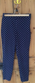 Dorothy Perkins navy with white spot ladies trousers Size 8