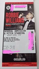 ROBBIE WILLIAMS MURRYFIELD STADIUM GENERAL ADMISSION & PITCH STANDING 9TH JUNE £71.50( COST )