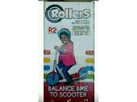 NEW Rollers R2 Balance Bike & 2 Wheeled Scooter Boys Kids Toy Blue White&Red