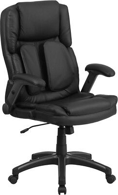 High Back Comfort Back Black Leather Swivel Ergonomic Flip-U