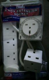 £7. 4way extention socket, timer, 2way plug