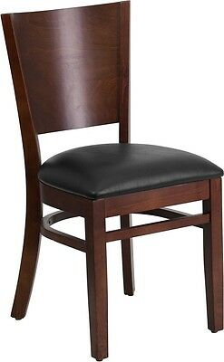 Solid Back Walnut Wood Finish Restaurant Chair With Black Vinyl Seat