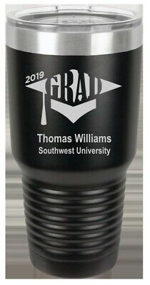Graduation Gift Personalized Engraved Insulated Black Steel Vacuum Cup 30 oz. (Personalized Insulated Cups)